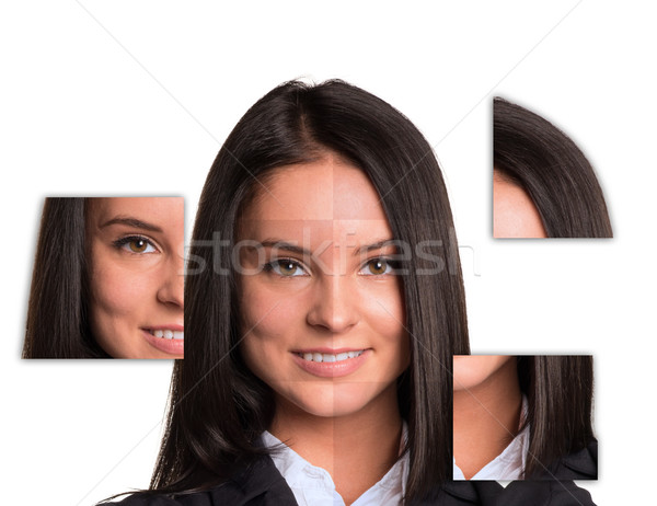 Portrait beautiful young girl made up of parts images Stock photo © cherezoff