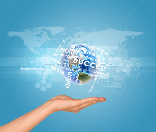 Hand holds Earth with business words. World map as backdrop Stock photo © cherezoff