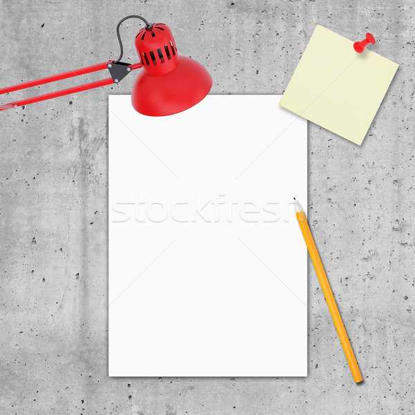 Blank paper, pencil, blank note paper and table-lamp Stock photo © cherezoff
