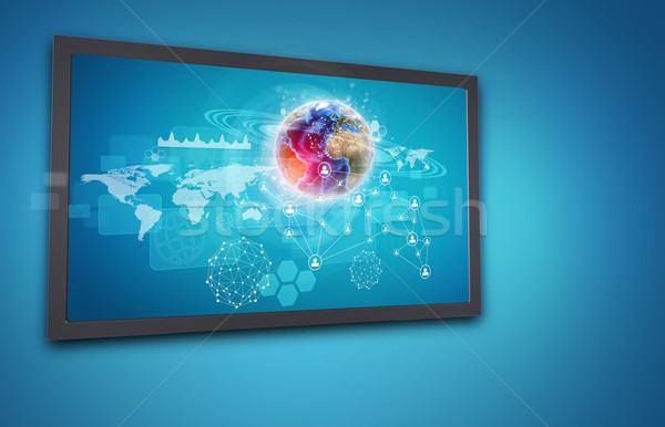 Touchscreen display with Globe, network of person icons and other elements Stock photo © cherezoff