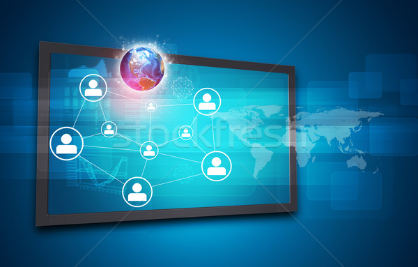 Touchscreen display with Globe, world map, network of person icons and other elements Stock photo © cherezoff
