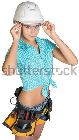 Bastante nina shorts camisa blanco casco Foto stock © cherezoff