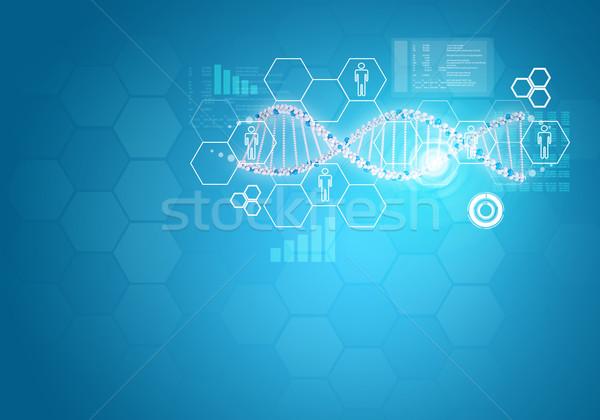 Személy DNS fehér gyűrű hatszög információ Stock fotó © cherezoff