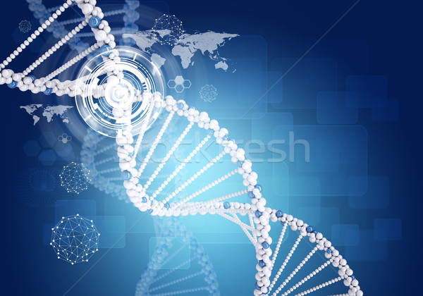 Human DNA. Background of hexagons, boards, graph, world map, wire-frame Stock photo © cherezoff