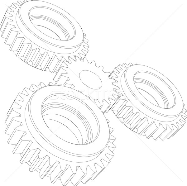 Four wire-frame gears. Perspective view. Vector illustration  Stock photo © cherezoff
