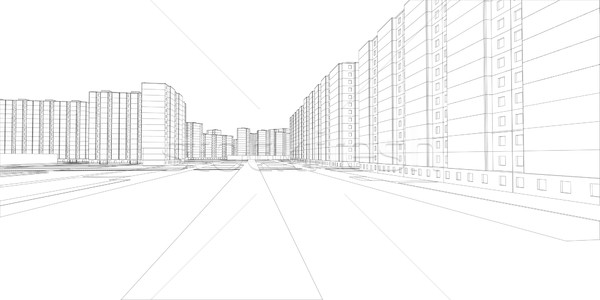 Wire-frame buildings and street. Vector Stock photo © cherezoff