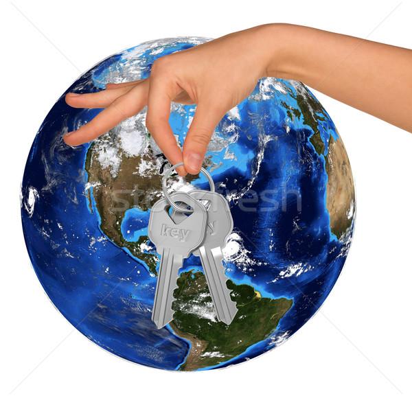 Humans hand holding keys and Earth Stock photo © cherezoff
