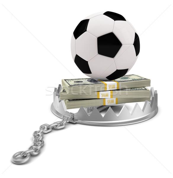 Calcio soldi orso trappola isolato bianco Foto d'archivio © cherezoff