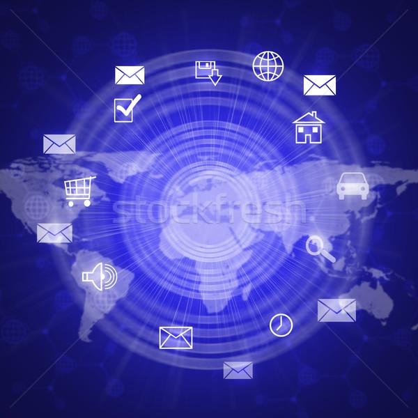 Absztrakt számítógép ikonok világtérkép ház autó világ Stock fotó © cherezoff