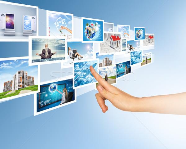 Holografikus képek kéz megérint absztrakt nő Stock fotó © cherezoff