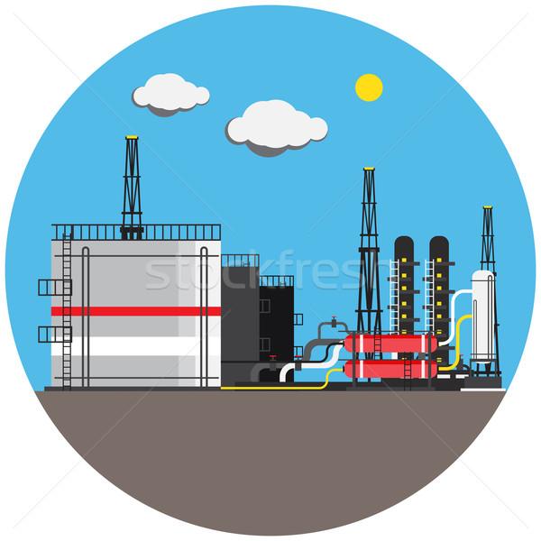 Színes gyár kép zászlók ipari Stock fotó © cherezoff
