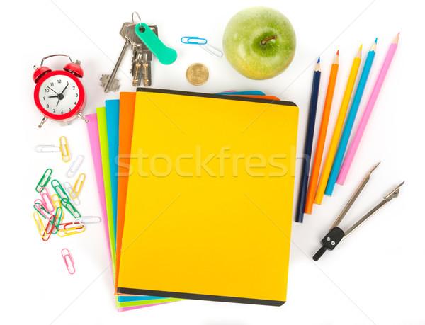 Wecker Büro Bleistift Tasse Buntstifte Apfel Stock foto © cherezoff