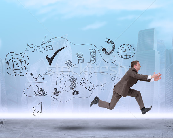 Businessman running forward with empty hands Stock photo © cherezoff