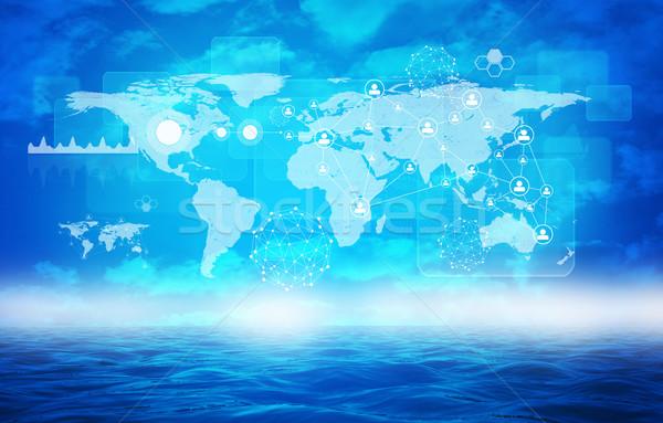 Résumé mer graphiques terre carte eau Photo stock © cherezoff