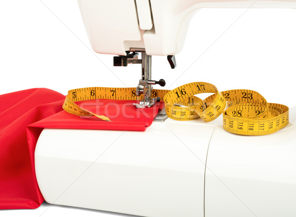 Sewing machine with fabric and tape Stock photo © cherezoff