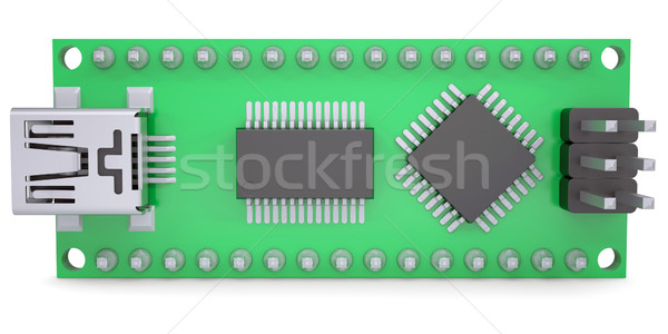 Computer board with chips and USB output Stock photo © cherezoff