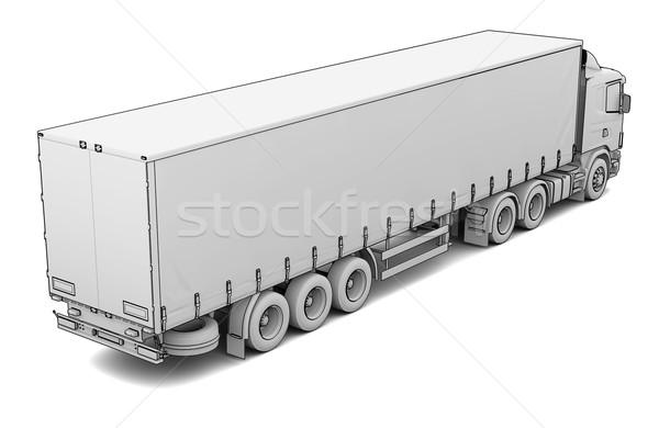 Rajz fehér teherautó izolált render sziluett Stock fotó © cherezoff