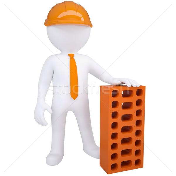 3d white man with a brick Stock photo © cherezoff