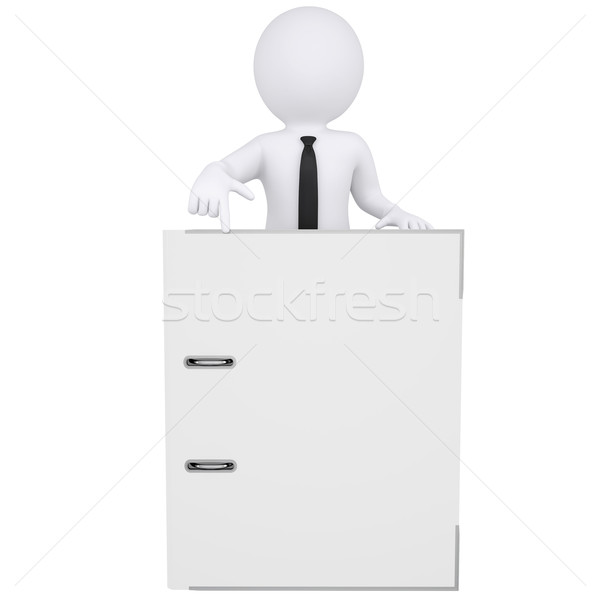 3d white man points a finger at the office folder Stock photo © cherezoff