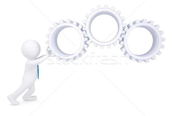 3d man rotate the gears Stock photo © cherezoff