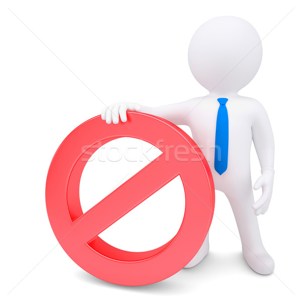 White 3d man with red prohibitory sign Stock photo © cherezoff