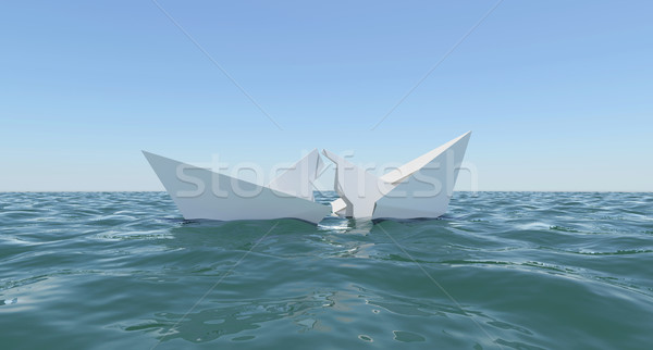 Paper Boat is broken into two parts, sinks in water Stock photo © cherezoff