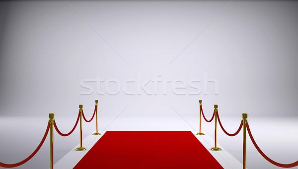 Vörös szőnyeg szürke 3D renderelt kép fény háttér Stock fotó © cherezoff