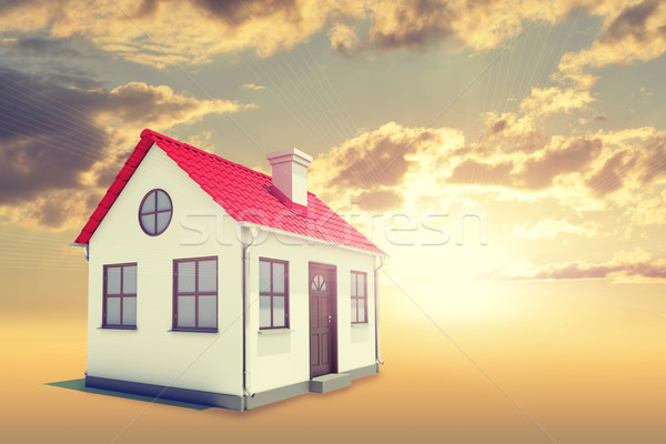 White house with red roof, brown door and chimney. Background sunset Stock photo © cherezoff