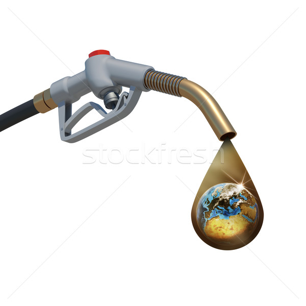 Brown oil drop withing earth inside, weeping from the fuel nozzl Stock photo © cherezoff