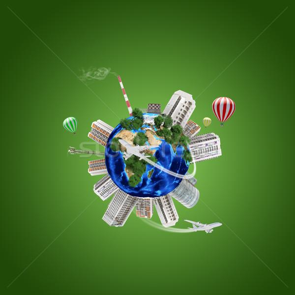 Föld modell város körül atomi elektromos erőmű Stock fotó © cherezoff
