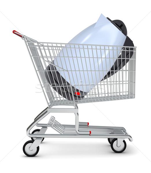Elektromos bogrács bevásárlókocsi izolált fehér bolt Stock fotó © cherezoff