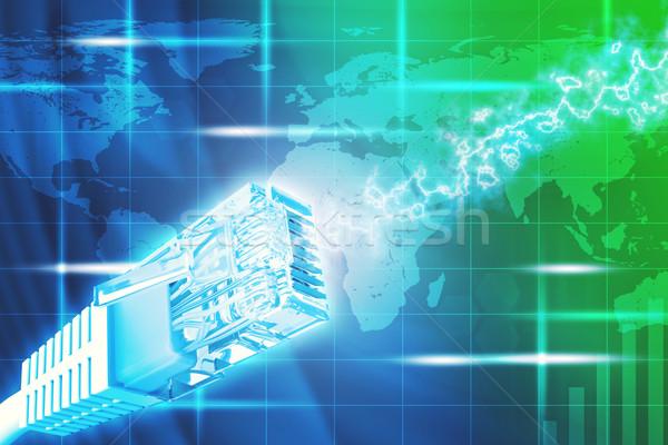 Kabel komputerowy widoku streszczenie kolorowy mapie świata Zdjęcia stock © cherezoff
