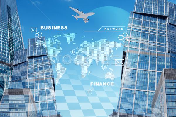 Ville carte du monde jet affaires ciel bleu ordinateur Photo stock © cherezoff