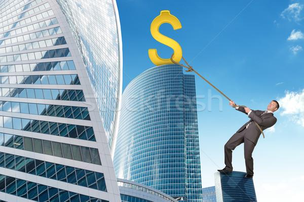 Geschäftsmann Klettern Wolkenkratzer Dollarzeichen halten golden Stock foto © cherezoff