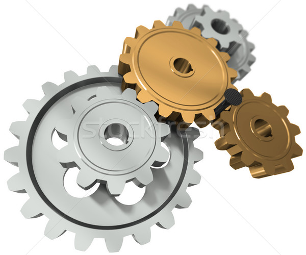 Nail between gears - a symbol obstacle in business Stock photo © cherezoff