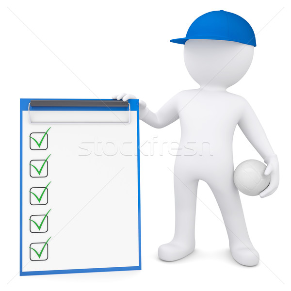 3d man with volleyball ball holding checklist Stock photo © cherezoff