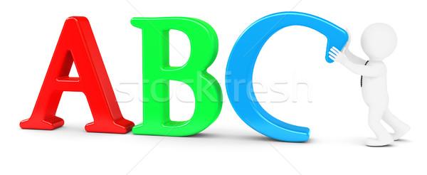 Blanke man letter d geïsoleerd geven witte Blauw Stockfoto © cherezoff