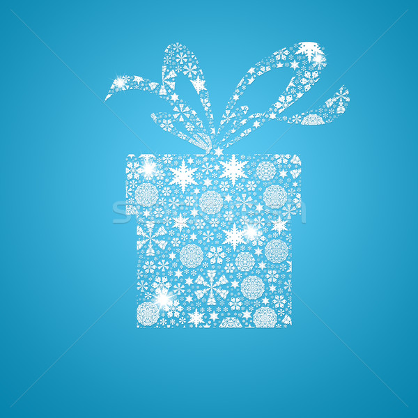Silhouette gift box filled with snowflake Stock photo © cherezoff