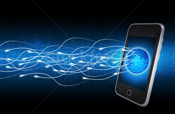 Smartphone, globe and glow rays Stock photo © cherezoff