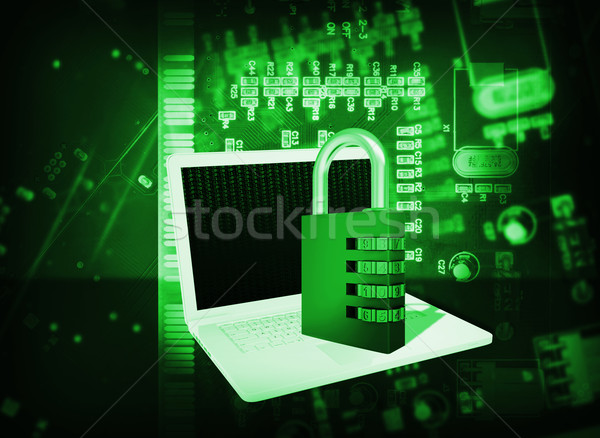 Laptop and code lock on abstract background Stock photo © cherezoff