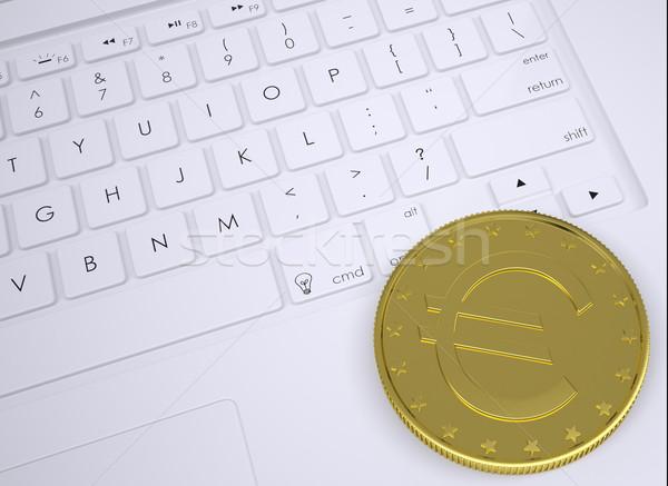 Stock fotó: Arany · Euro · érme · billentyűzet · felülnézet · üzlet