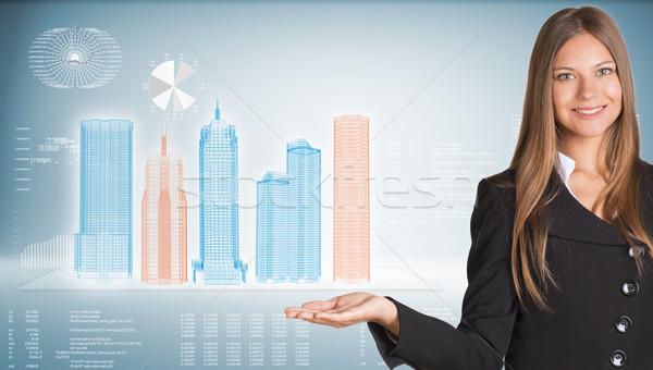 деловая женщина Небоскребы костюм проволоки кадр Сток-фото © cherezoff
