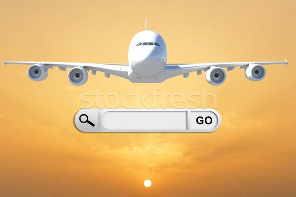 Búsqueda bar navegador avión hermosa puesta de sol Foto stock © cherezoff