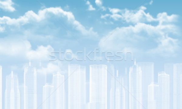 Wire-frame buildings. Bly sky with clouds as backdrop Stock photo © cherezoff