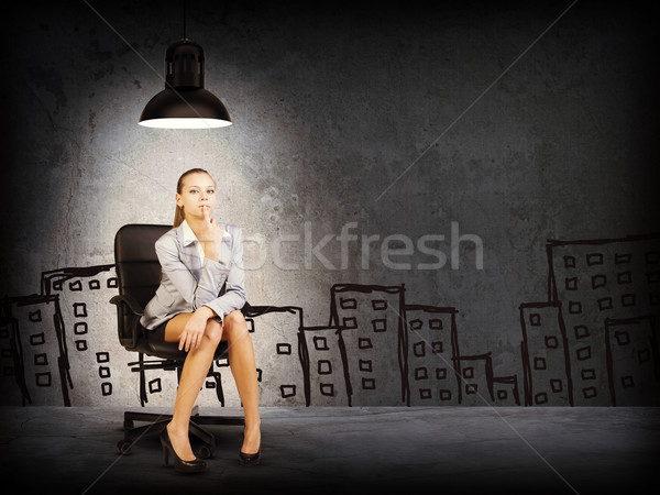 женщину куртка блузка эскиз зданий Сток-фото © cherezoff