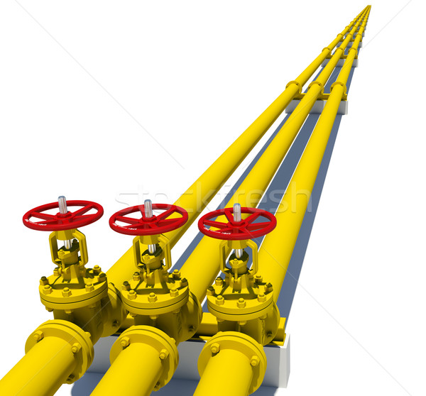 три желтый Трубы изолированный белый металл Сток-фото © cherezoff
