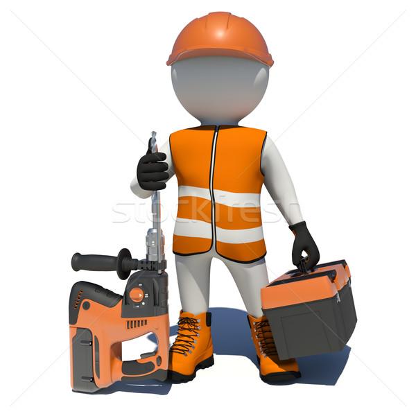 Arbeitnehmer halten elektrische Werkzeugkasten isoliert Weste Stock foto © cherezoff