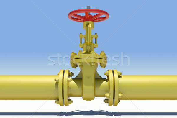 Yellow industrial valves and pipe with shadow Stock photo © cherezoff