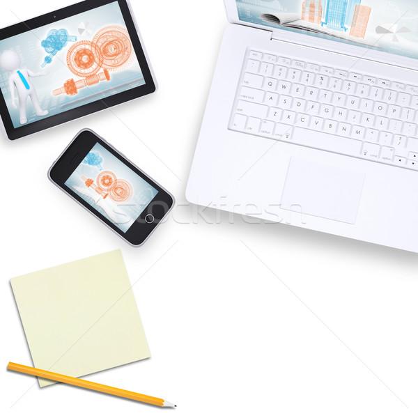 Laptop tabletta telefon levélpapír felső kilátás Stock fotó © cherezoff
