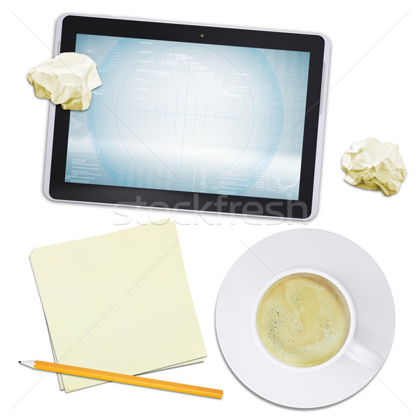 Tablet and coffee with crumpled paper, top view Stock photo © cherezoff